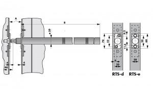 Tube door closer RTS d/e dimensions