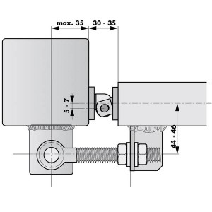 Tube door closer RTS installation on fences with screw-hinges
