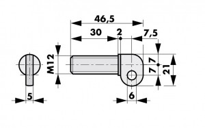 Tube door closer RTS angled eyelet for screw hinges