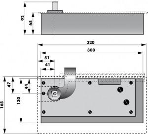 Floor spring WAB 180 Dimensions