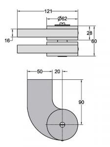 Floor spring WAB 180 accessories dimensions 460089-600