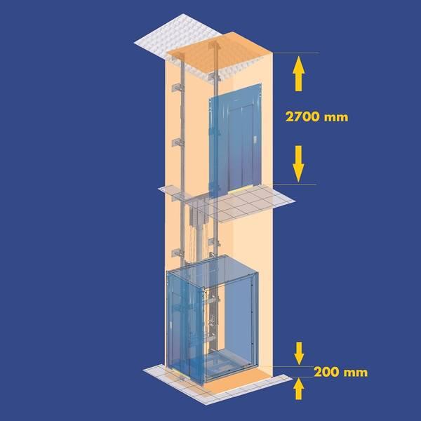 Sehr Aufzug geringe Maße Schachtgrube Schachtkopf EN 81-2 PS99