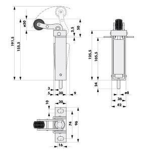 010208 Aufzug Türdämpfer Standard E. Maße