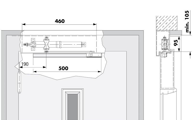 ferme porte glissi re pour des portes d ascenseur italiennes. Black Bedroom Furniture Sets. Home Design Ideas