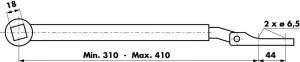 Dimensiones palanca de empuje 460093