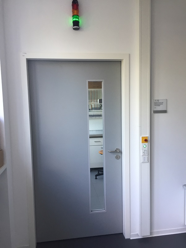 The access door to the laboratory