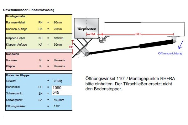Le service technique de DICTATOR calculait pour cette application les positions de montage exactes.