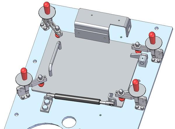 3D Zeichnung: Wartungsklappe mit Gasfeder - zu