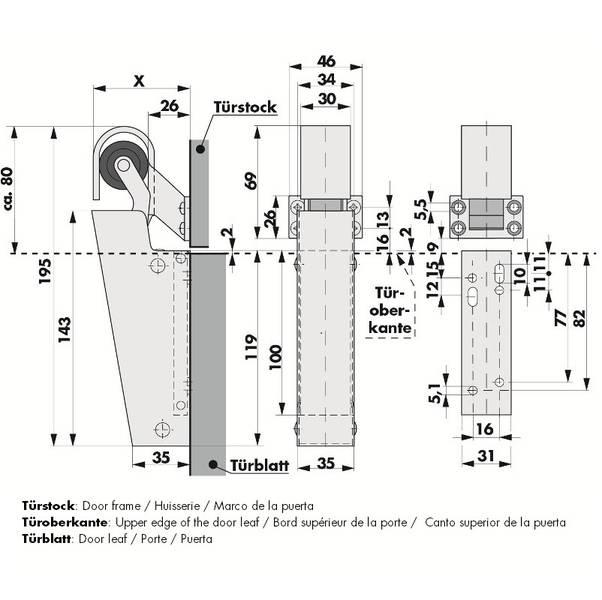 Türdämpfer V1600 Maßangaben