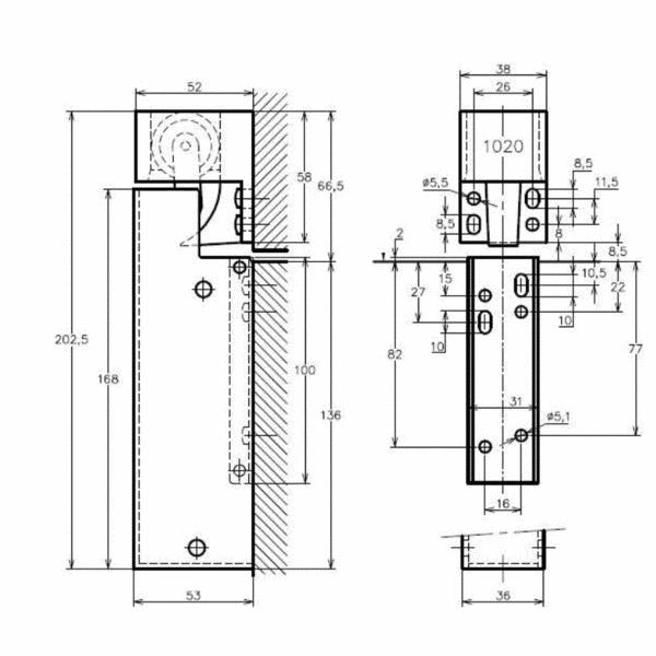 Türdämpfer VS2000 Montage senkrecht