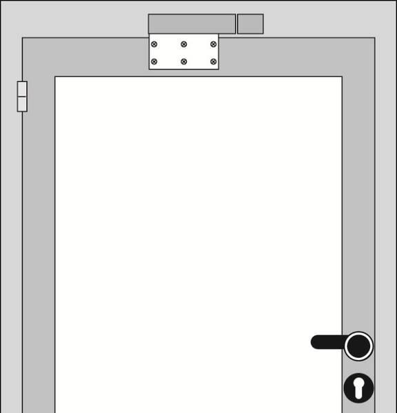 Türdämpfer VS2000 Montage3 waagrecht mit Montageplatte