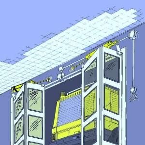 Gasfedern mit regulierbarer Ausfahrgeschwindigkeit Toranlage Feuerwehrhaus