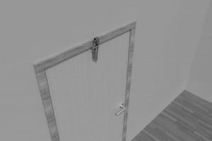 Türdämpfer H 1300 mit Haken 1011 an zurückliegender Tür