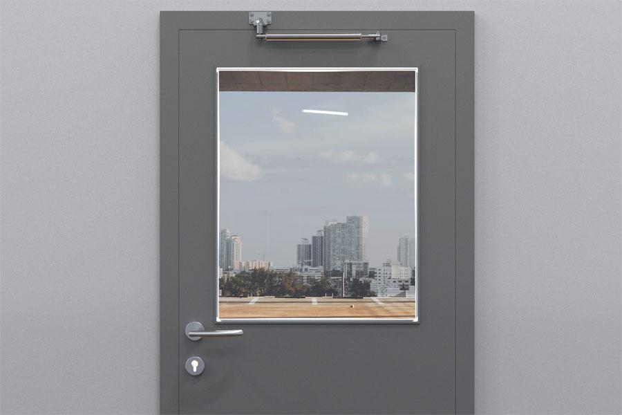 Türöffnungsbegrenzer an Tür ohne Obentürschließer, Standardbefestigung