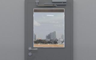 Türöffnungsbegrenzer an Tür mit Obentürschließer, Gleitschiene auf der Tür