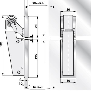 Türdämpfer V 1600 U-Profil Glastür Montage