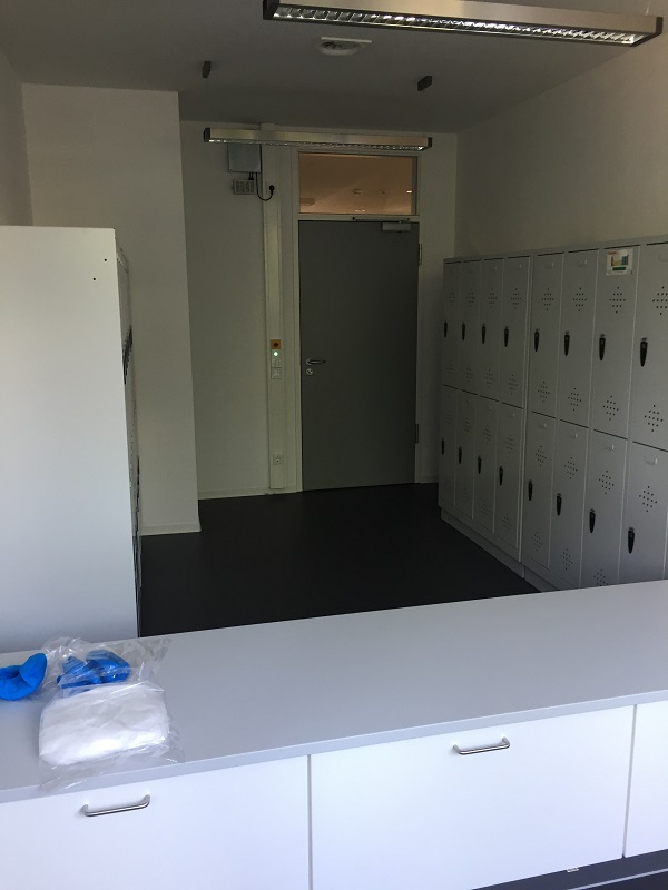 View of the changing area and the interlock door to the corridor